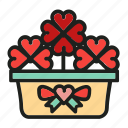 flowers, heart, love, plant, pot icon
