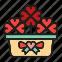 flowers, heart, love, plant, pot