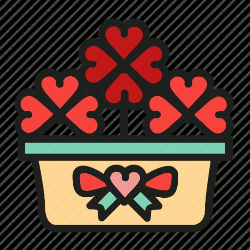 flowers, heart, love, plant, pot icon