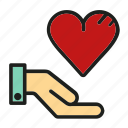 gift, hand, heart, like, love icon