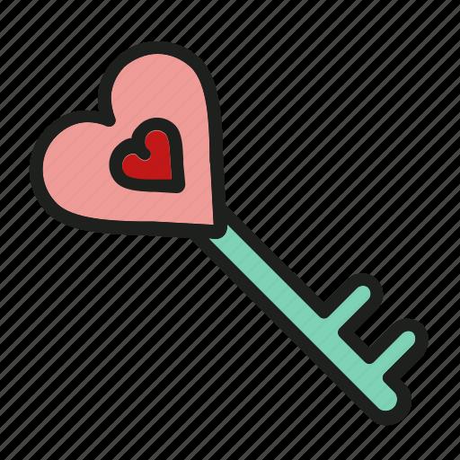 heart, key, lock, love, open icon