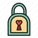 heart, key, lock, love, protection icon