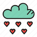 cloud, heart, like, love, rain icon
