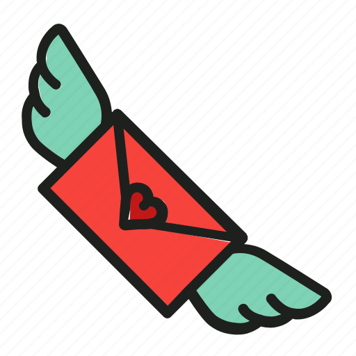 letter, love, mail, post, wings icon