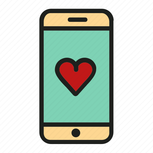 cell, heart, love, phone, screen icon