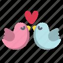 bird, couple, heart, love