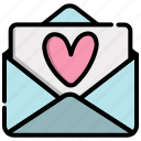 heart, letter, love, mail, message, valentine icon