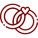 valentine, with, day, rings, heart icon