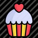 cupcake, cup, cake, heart, valentine, food, bakery