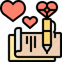letter, love, note, message, romance