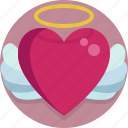 angel, heart, valentine, valentine day icon