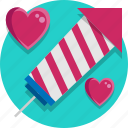 firework, heart, rocket, valentine, valentine day icon