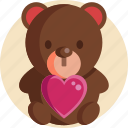 bear, heart, valentine, valentine day icon