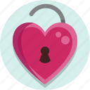 heart, unlock, valentine, valentine day icon