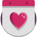calendar, heart, valentine, valentine day icon