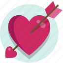 arrow, heart, valentine, valentine day icon
