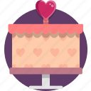 cake, heart, valentine, valentine day icon