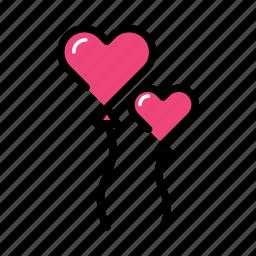 balloon, celebration, event, heart, love, valentine day icon