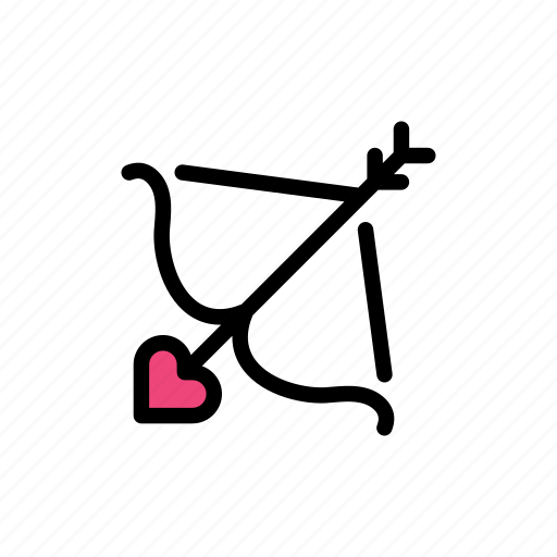 arrow, cupid, cupid arrow, cupid bow, heart, love, valentine day icon