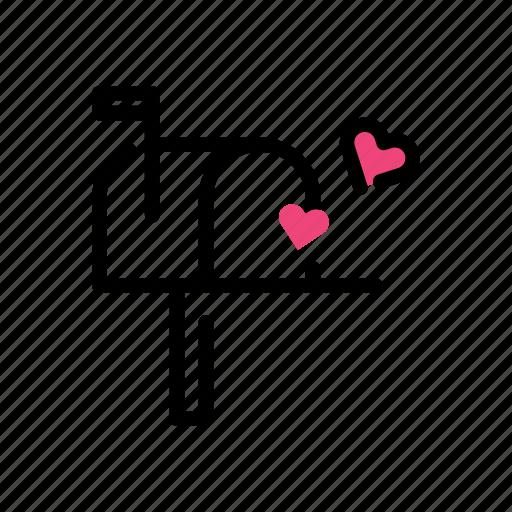 heart, letterbox, love, valentine day icon