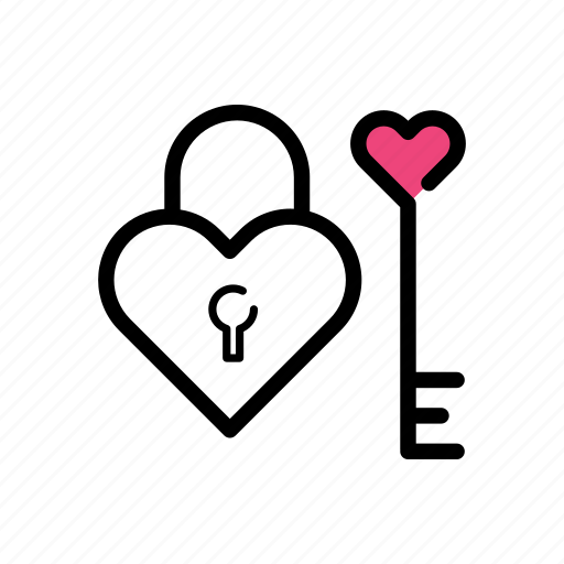 heart, key, lock, lock and key, love, safe, valentine day icon