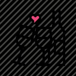 celebration, event, heart, love, valentine day, wine icon