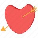 arrow, day, heart, love, valentine icon