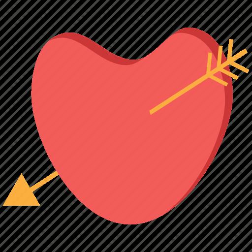 arrow, day, heart, love, valentine icon