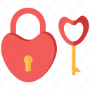 heart, key, lock, love, romance icon