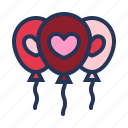 balloons, celebration, heart, love, relationship, romance, valentine day icon