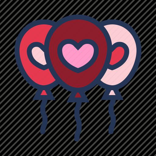 balloons, celebration, heart, love, relationship, romance, valentine day icon