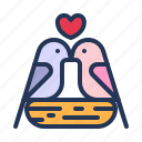 birds, dove, heart, love, relationship, romance, valentine day icon