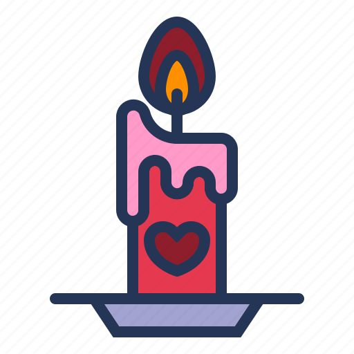 candle, heart, light, love, relationship, romance, valentine day icon
