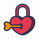 heart key, lock, love, padlock, relationship, romance, valentine day icon
