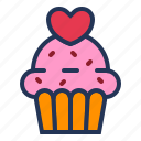 cake, dessert, love, muffin, relationship, romance, valentine day icon