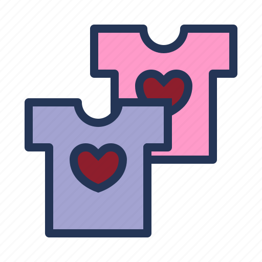 clothes, couple t-shirt, love, relationship, romance, shirt, valentine day icon
