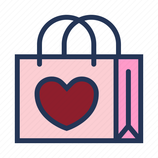 gift bag, love, paper bag, relationship, romance, shopping bag, valentine day icon