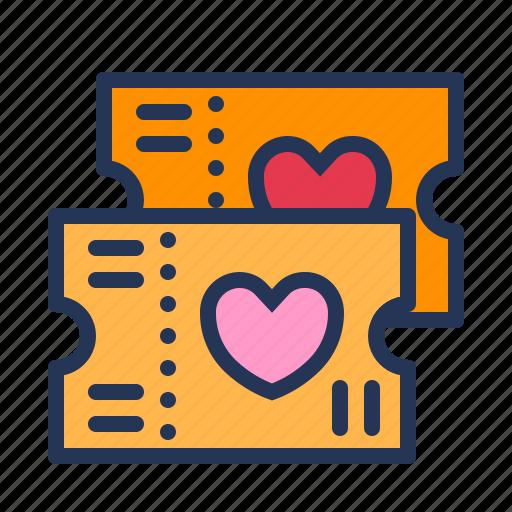 dating, love, movie, relationship, romance, ticket, valentine day icon