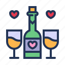 dating, drink, love, relationship, romance, valentine day, wine icon