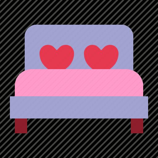 bed, bedroom, love, relationship, romance, sleep, valentine day icon