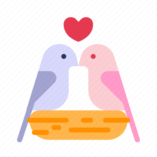 birds, dove, heart, love, relationship, romance, valentine day icon