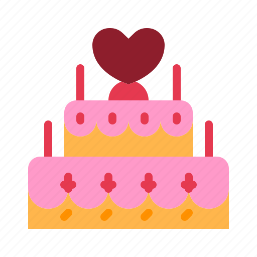 cake, celebrate, heart, love, relationship, romance, valentine day icon