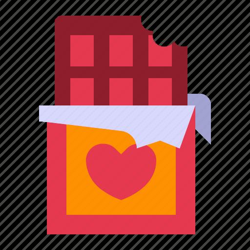 chocolate, chocolate bar, love, relationship, romance, sweet, valentine day icon