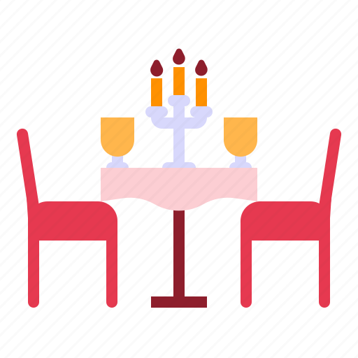 candle light dinner, date, dinner, love, relationship, romance, valentine day icon