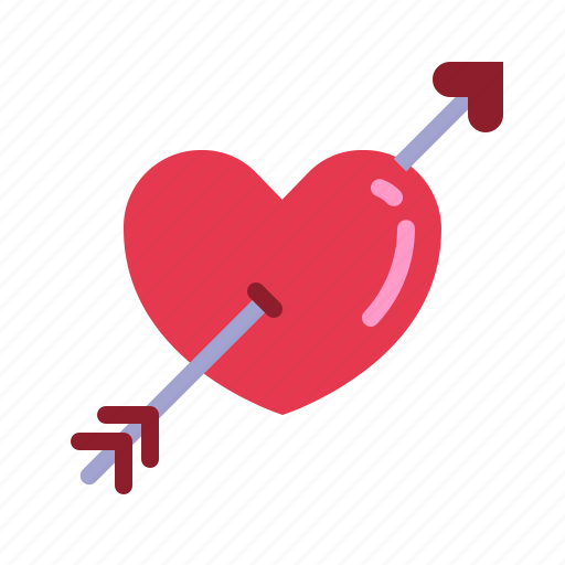 arrow, fall in love, heart, love, relationship, romance, valentine day icon