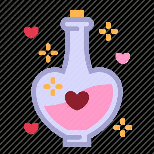 bottle, formula, love, love potion, relationship, romance, valentine day icon