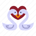 couple, love, relationship, romance, swan, valentine day, wedding icon