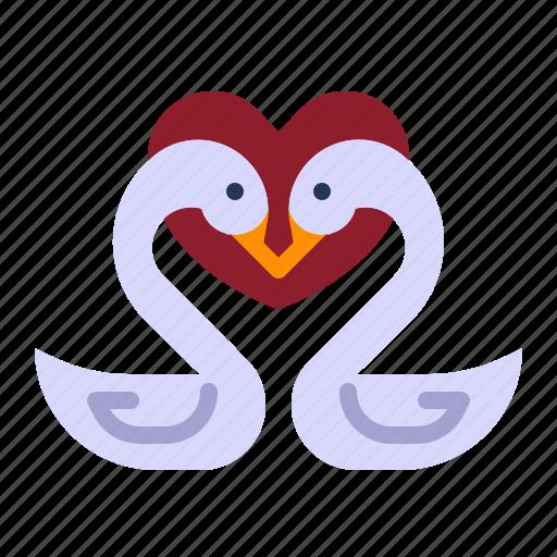 couple, love, relationship, romance, swan, valentine day, wedding icon