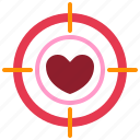 dartboard, heart, love, relationship, romance, target, valentine day icon