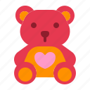 doll, heart, love, relationship, romance, teddy bear, valentine day icon